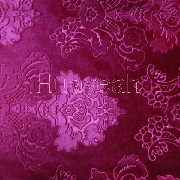 embossed red color velvet floral upholstery fabric