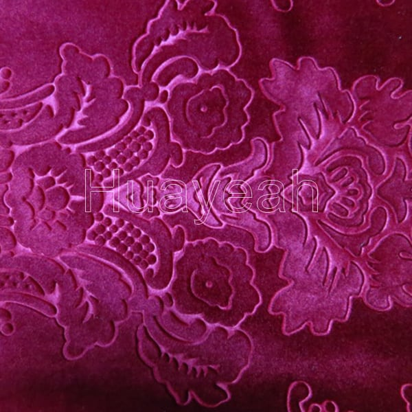 Red Color Velvet Floral Upholstery Fabric