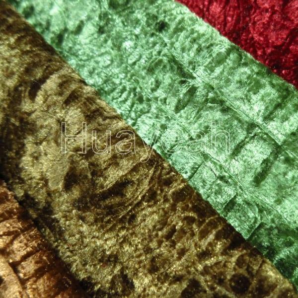 Wholesale polyester embossing crushed velvet ikat upholstery fabric