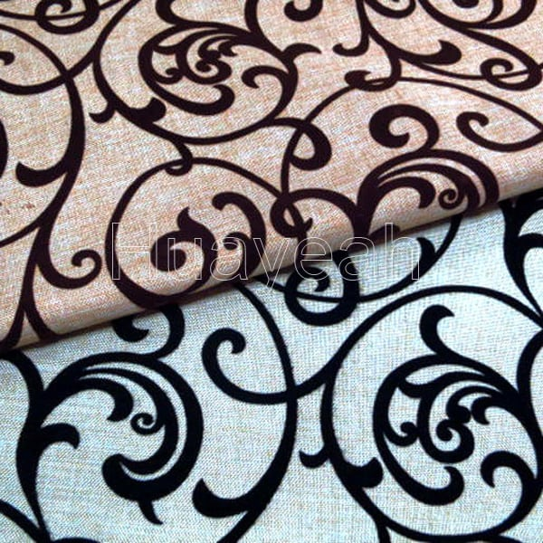 Flocking Linen Look Upholstery Furniture Fabric