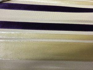 stripe velvet fabric close look