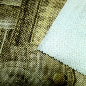 rolls of upholstery fabrics backside