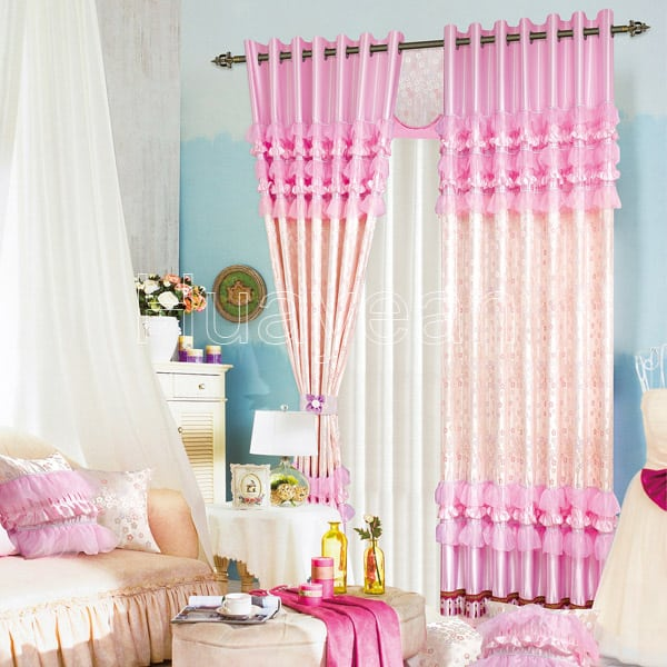 Pink color curtain fabric for kids 39 rooms for Kids drapery fabric
