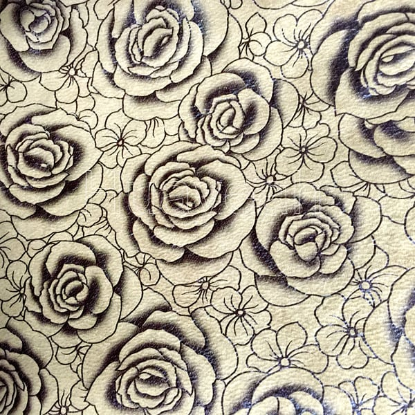 Rose Flower Microfiber Suede Upholstery Fabric