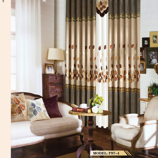 Leaf Design Linen Curtain Material Fabric For Living Room