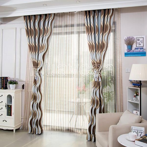 Home decor window jacquard polyester cotton fabric for Window cotton design