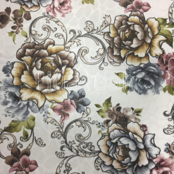 hot sale flower print polyester burnout velvet