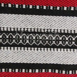 striped jacquard sadu fabric close look
