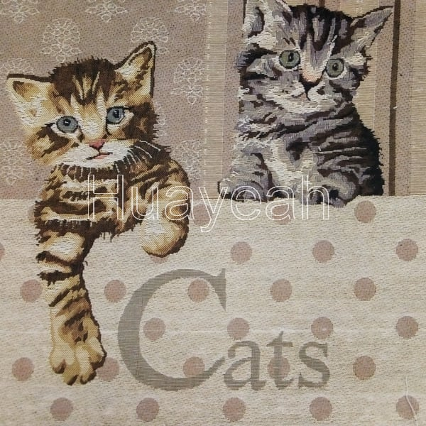 Polyester Jacquard Cat Pattern Tapestry Sofa Fabric For Upholstery